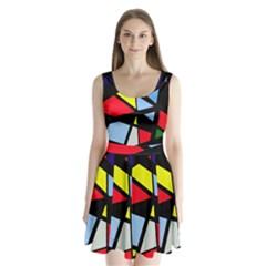 Colorful geomeric desing Split Back Mini Dress