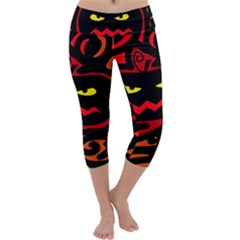 Halloween pumpkin Capri Yoga Leggings