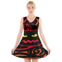Halloween pumpkin V-Neck Sleeveless Skater Dress