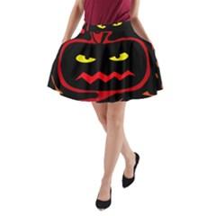 Halloween pumpkin A-Line Pocket Skirt
