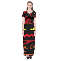 Halloween pumpkin Short Sleeve Maxi Dress