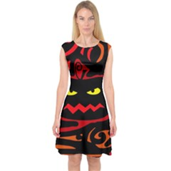Halloween pumpkin Capsleeve Midi Dress