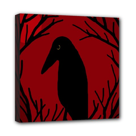 Halloween raven - red Mini Canvas 8  x 8