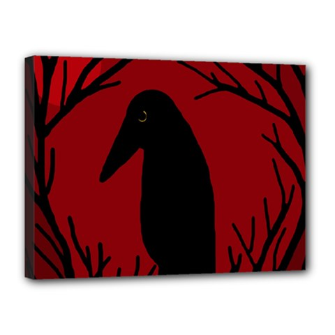 Halloween raven - red Canvas 16  x 12