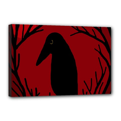 Halloween raven - red Canvas 18  x 12