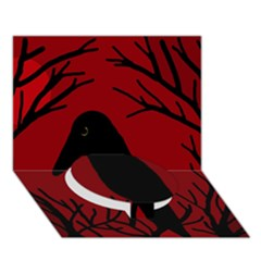 Halloween raven - red Circle Bottom 3D Greeting Card (7x5)
