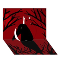 Halloween raven - red Apple 3D Greeting Card (7x5)