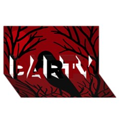 Halloween raven - red PARTY 3D Greeting Card (8x4)