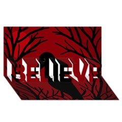 Halloween raven - red BELIEVE 3D Greeting Card (8x4)
