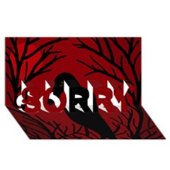 Halloween raven - red SORRY 3D Greeting Card (8x4)