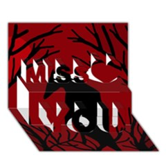 Halloween raven - red Miss You 3D Greeting Card (7x5)