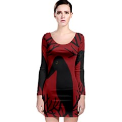 Halloween raven - red Long Sleeve Bodycon Dress