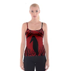 Halloween raven - red Spaghetti Strap Top