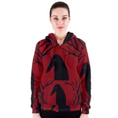 Halloween raven - red Women s Zipper Hoodie