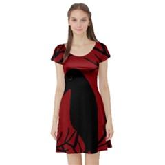 Halloween raven - red Short Sleeve Skater Dress