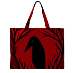Halloween raven - red Large Tote Bag