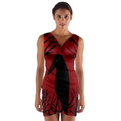 Halloween Raven   Red Wrap Front Bodycon Dress