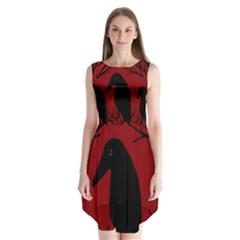 Halloween raven - red Sleeveless Chiffon Dress
