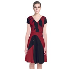 Halloween Raven   Red Short Sleeve Front Wrap Dress