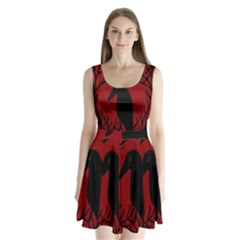 Halloween Raven   Red Split Back Mini Dress