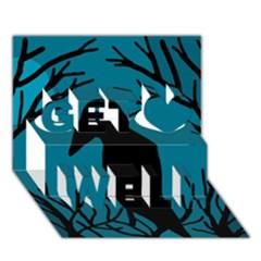 Halloween raven - Blue Get Well 3D Greeting Card (7x5)