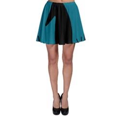 Halloween raven - Blue Skater Skirt