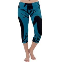 Halloween Raven   Blue Capri Yoga Leggings