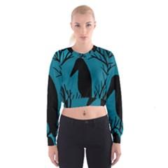 Halloween raven - Blue Women s Cropped Sweatshirt