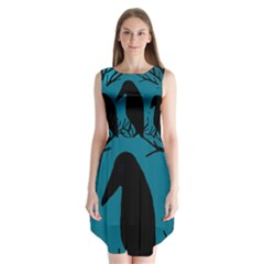 Halloween Raven   Blue Sleeveless Chiffon Dress