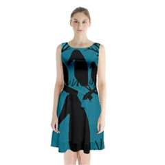 Halloween raven - Blue Sleeveless Chiffon Waist Tie Dress