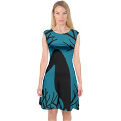 Halloween Raven   Blue Capsleeve Midi Dress