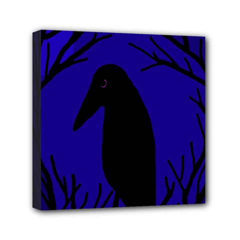 Halloween raven - deep blue Mini Canvas 6  x 6