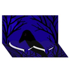Halloween raven - deep blue Twin Heart Bottom 3D Greeting Card (8x4)