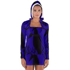 Halloween Raven   Deep Blue Women s Long Sleeve Hooded T Shirt