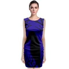 Halloween Raven   Deep Blue Classic Sleeveless Midi Dress