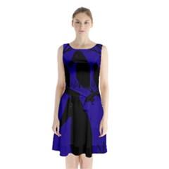 Halloween raven - deep blue Sleeveless Chiffon Waist Tie Dress