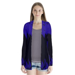 Halloween raven - deep blue Drape Collar Cardigan