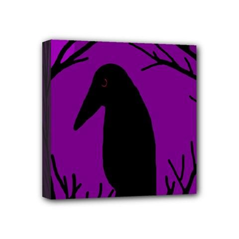 Halloween raven - purple Mini Canvas 4  x 4