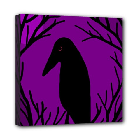 Halloween raven - purple Mini Canvas 8  x 8