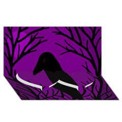 Halloween raven - purple Twin Heart Bottom 3D Greeting Card (8x4)