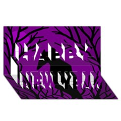 Halloween raven - purple Happy New Year 3D Greeting Card (8x4)