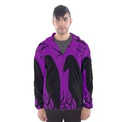 Halloween raven - purple Hooded Wind Breaker (Men)