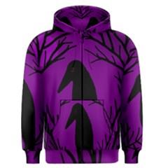 Halloween raven - purple Men s Zipper Hoodie