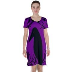 Halloween raven - purple Short Sleeve Nightdress