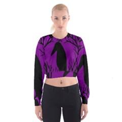 Halloween Raven   Purple Women s Cropped Sweatshirt