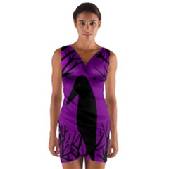 Halloween raven - purple Wrap Front Bodycon Dress
