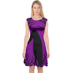 Halloween raven - purple Capsleeve Midi Dress