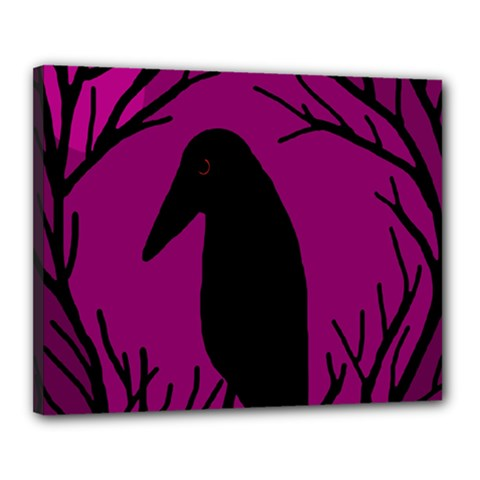 Halloween raven - magenta Canvas 20  x 16