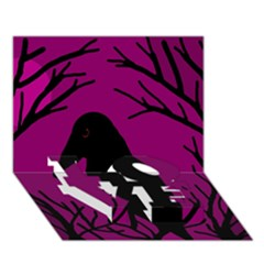 Halloween raven - magenta LOVE Bottom 3D Greeting Card (7x5)