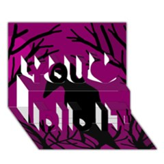 Halloween raven - magenta You Did It 3D Greeting Card (7x5)